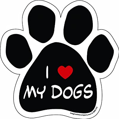 Imagine This Paw Car Magnet, I Love My Dogs, 5-1/2-Inch by 5-1/2-Inch by Imagine This Company