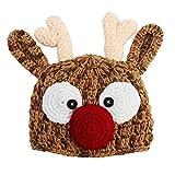 Little Girls Boys Brown Rudolph Reindeer Crochet Beanie Hat 2-4 Years