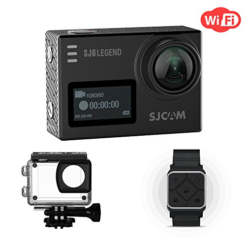 SJCAM SJ6 Legend Action Camera WiFi Dual Screen- 2.0 Touchscreen 170 Degree Wide Angel Gyro Stabilizatio External Microphone Supported Included Remote Wrist Watch Waterproof 4K Action Cam