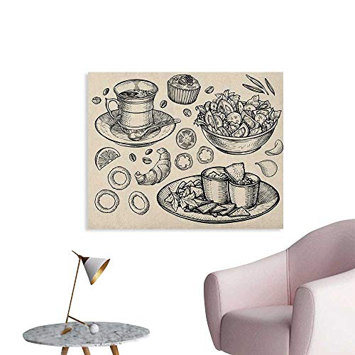 Warm Family Sketch Wallpaper Nachos Croissant Tea Onion for sale  Delivered anywhere in USA