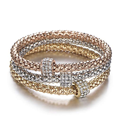- PORPI-JOJO 3PCS Gold/Silver/Rose Gold Tone Corn Chain Stretch Bracelets Multilayer Bracelet for Women