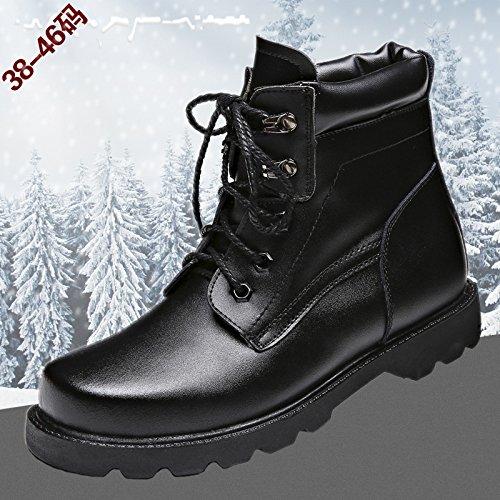 WZG bottes hommes nouveaux, plus velours chaud chaussures de plein air outillage chaussures Martin bottes hiver bottes de neige 46 , black , 44