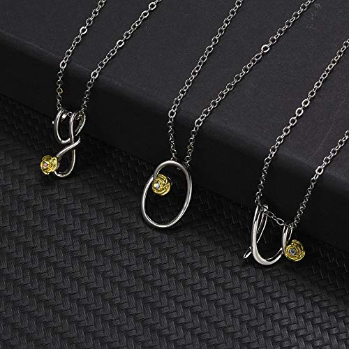 YUGHGH Initial Necklace for Women, Dainty Initial Charm Necklace Alphabet Letter A to Z Initial Jewelry for Women Girls (L, Sliver)