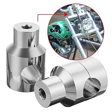 for auto AKDSteel 7//8 22mm 1 25mm Handlebar Riser For Harley Custom Springer Bobber Chopper silver 25mm