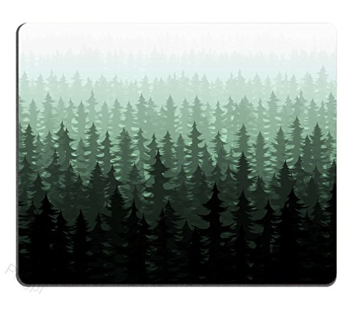Pingpi Nature Forest Landscape Mouse Pad for office, Watercolor Pine Trees Personalized Design Non-Slip Rubber Mouse pad