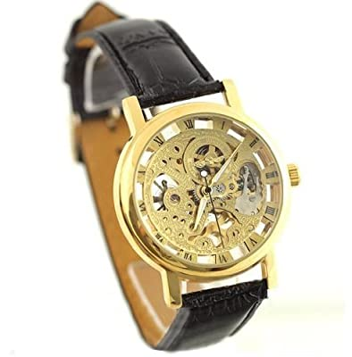 Seasonwind Mens Mechanical Hand Movement Leather Round Skeleton Fashion Wrist Watch Golden Rose