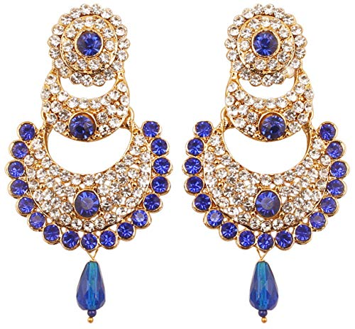 Touchstone Indian Bollywood White Crystals and Faux Blue Sapphire Chand Bali Moon Designer Jewelry Chandelier Earrings for Women in Antique Gold Tone.
