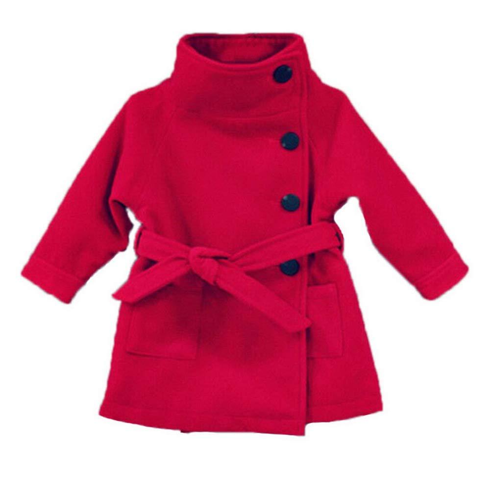 ARAUS Bambina Cappotto in Lana a Lunga Manica con Bottoni Bimba Giacca con Cintura Primavera e Autunno 2-9 Anni
