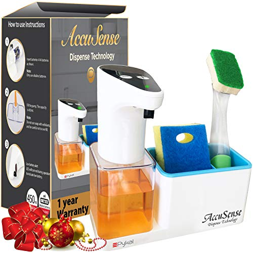 Pykal Premium 15 oz Kitchen Soap Dispenser with Sponge Holder | Automatic and Touchless Accusense Dispense Technology | 1 Year Warranty | Perfect Packaging for Christmas