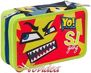Estuche Escolar 3 cremallera completo Seven SJ GANG Face Boy Niño Azul Verde Claro: Amazon.es: Oficina y papelería