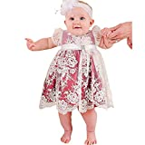 Kelaixiang Red Satin Lace Short Christening Gown For Baby Girls with Sash (12-18months)