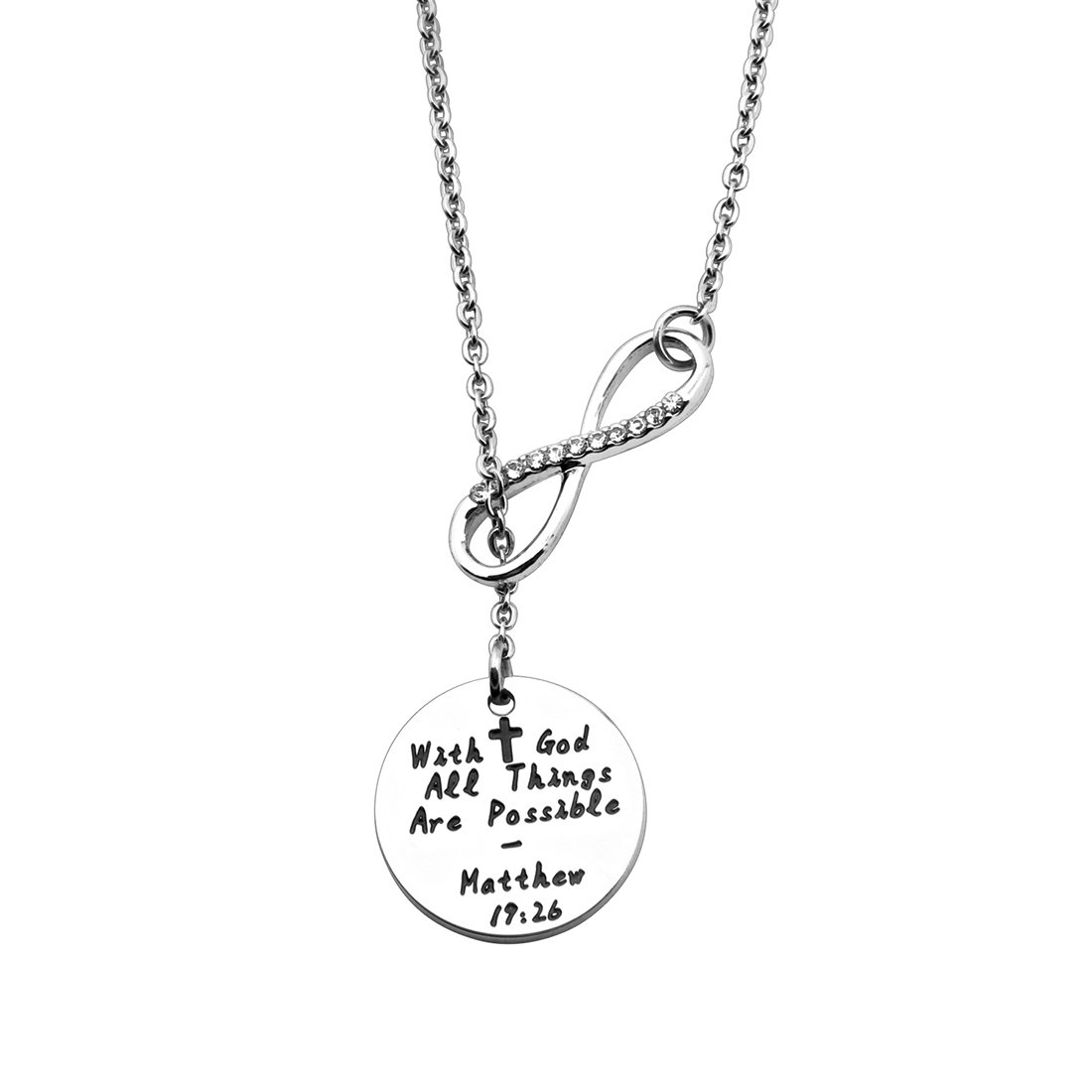 WUSUANED With God All Things are Possible Infinity Cross Necklace Religious Jewelry Inspirational Gift (Infinity disc necklace)
