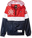Southpole Big Boys' Anorak Colorblock Water Resistance Hooded Pullover, Navy/Zip Off Sleeve, Small