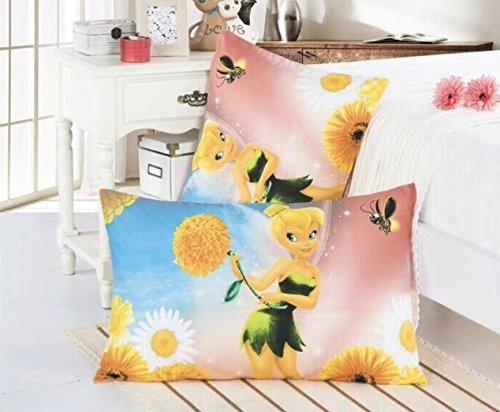 Ln 2 Piece Kids Cute Girls Blue Yellow Tinkerbell Pillowcases Set, Pink Tinker Bell Pillow Case Peter Pan Fairytale Flowers Green White, (2 Piece Peter Pans)