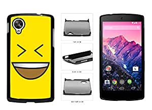 Bright Yellow Evil Grin with Teeth Smiley Face Plastic Phone Case Back Cover Nexus 5