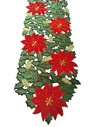 - Embroidered Christmas Poinsettias Applique Holiday Table Runner 13x68 Inch or 35x175 CM