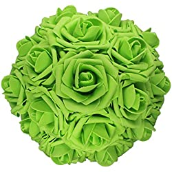 AnParty 25pcs Artificial Flower,Real Touch Artificial Foam Roses Decoration DIY Wedding Bridesmaid Bridal Bouquet Centerpieces Party (25, Green)