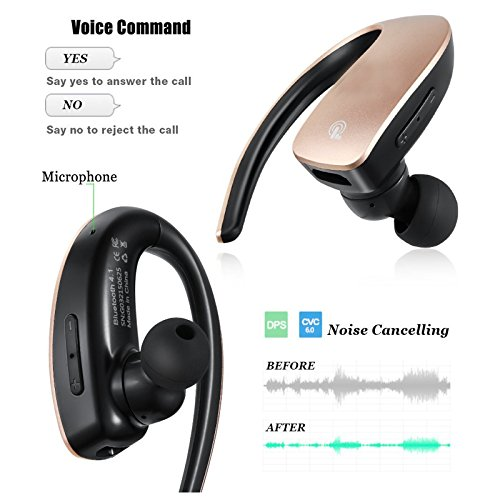 Bluetooth Headset Stereo Music Bluetooth Earphone Wireless Headphone Voice Command with Microphone for Android IOS iPhone 7 6 Plus 5S LG Samsung S8 Plus S7 S6 S5 Tablets and Other Bluetooth Devices by TopePop (Image #1)