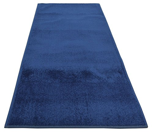 Custom Runner Solid Color Roll Runner 26 Inch Wide x Your Length Size Choice Anti Bacterial Slip Skid Resistant Rubber Back 3 Color Options Euro Collection (Royal Navy Blue, 24 ft x 26 in) ()