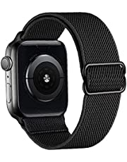 Band Quick Release Watch Band.nylon Watch Straps Kompatibel med Iwatch 42mm 44mm Justerbar Stretch Byte Wristband Black