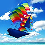 Tresbro Large Kite/Ship Kite for Kids and Adults- Easy to Assemble Launch Fly, 3D Cool Kite/Rainbow Kite for Outdoor Beach or Park Game Great Beginner Kite