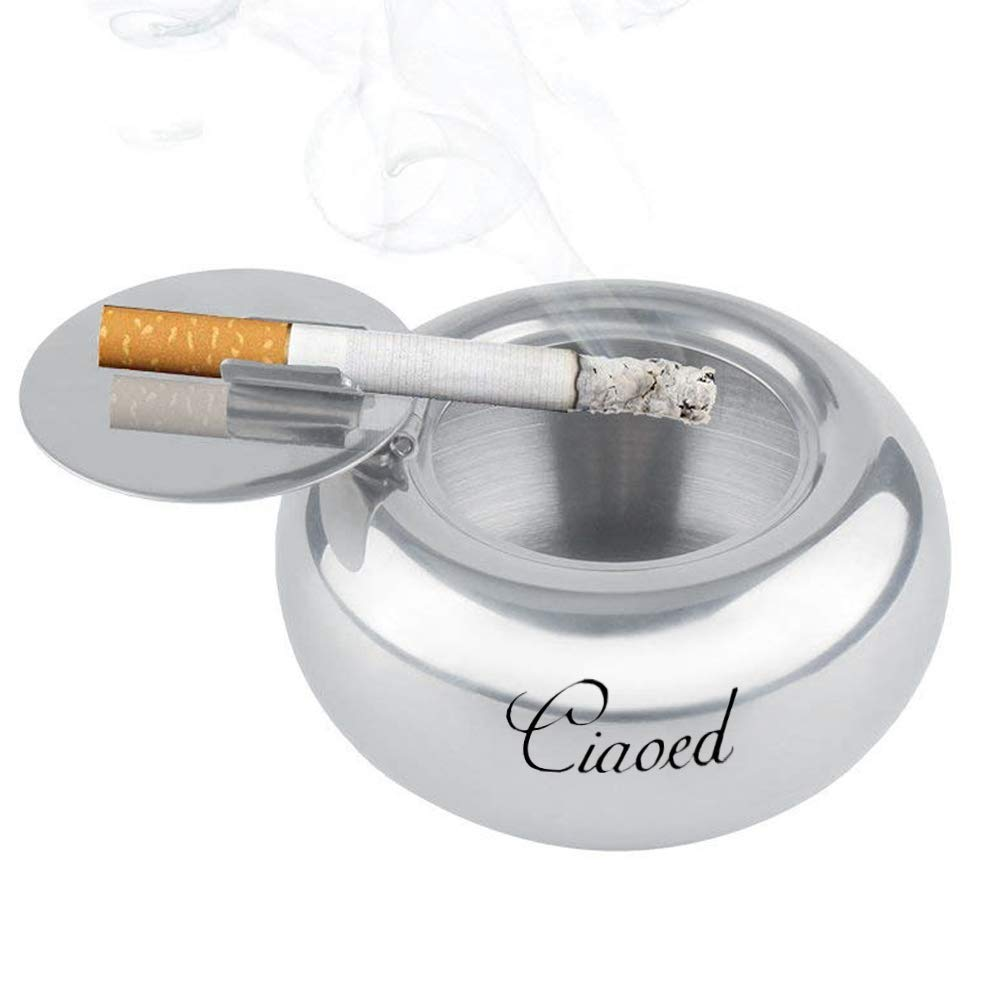Ciaoed Stainless Steel Ashtray with Lid/&Ciagarette Holder for Outdoor or Indoor