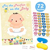 Pin The Dummy On The Baby Game for Baby Shower Decorations Kids Birthday Party Supplies, Large Baby Shower Games Poster 72 Pacifier Stickers