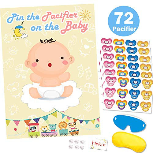 Pin The Dummy On The Baby Game for Baby Shower Decorations Kids Birthday Party Supplies, Large Baby Shower Games Poster 72 Pacifier Stickers]()