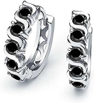 Bling Jewelry Sterling Silver Simulated Onyx CZ Waved Huggie Hoop Earrings