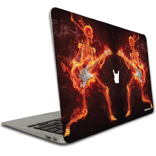 VictoryStore Removable Vinyl Cover - Flaming Skull, Vinyl Decal Compatible with MacBook Air or Pro, Size 13 Inches
