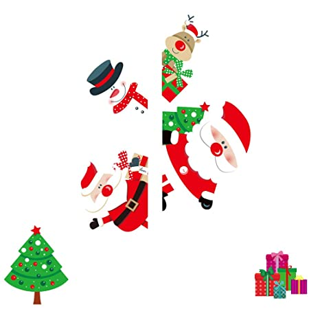 SUN-YUANYI Feliz Navidad Ventana Etiqueta de la Pared Santa ...