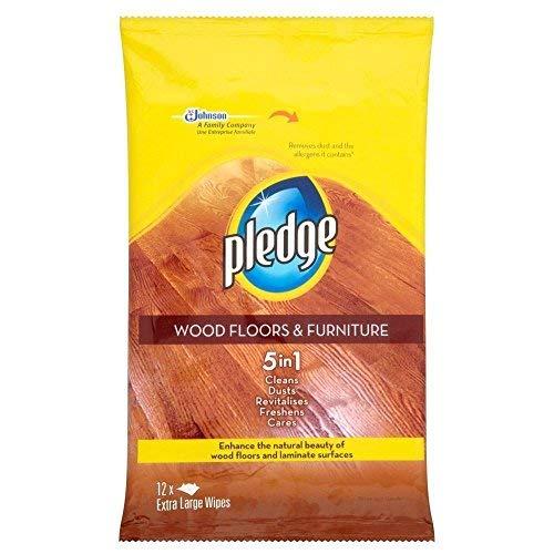 Pledge Wood Floors & Furniture Wet Wipes (12) - Pack of 2
