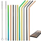 Barfame 10 Stainless Steel Straws Reusable Edged for 20oz 30oz Tumbler, BPA and Lead Free, 2 Cleaning Brush Included(Multicolor)
