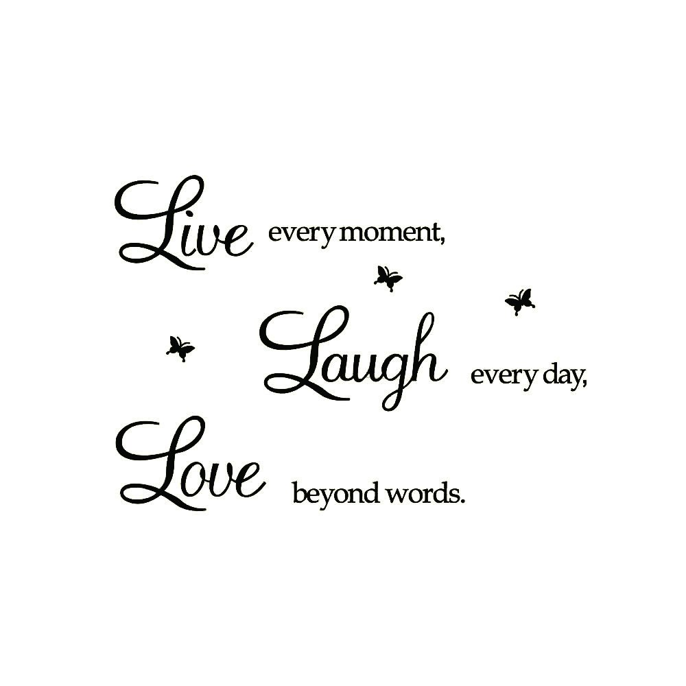 "Xiting ""Live Every Moment,laugh Every Day, Love Beyond Words."" with 3x Butterfly Wall Quote Art Sticker Decal for Home Bedroom Decor Corp Office Wall Saying Mural Wallpaper Birthday Gift for Girl"