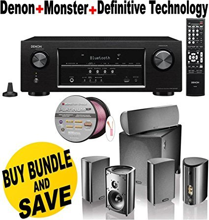 Denon AVR-S510BT 5.2 Channel Full 4K Ultra HD A/V Receiver With Bluetooth + Definitive Technology ProCinema 600 5.1 Speaker System Bundle by Denon
