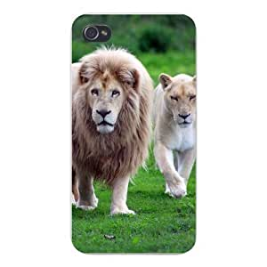 Apple Iphone Custom Case 4 4s Plastic Snap on - Lions Male & Female Walking African Plains by runtopwell
