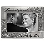 wedding picture frames - Malden International Designs Mr. & Mrs. Die Cast Metal Waves Frame, 4x6, Silver