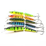 "5pcs/lot 4.2"" 2 Jointed Fishing Lure Life-like Swimbait Lures Crankbaits Baits Hard Bait Striped Minnow Fishing Lures with 2 Hooks"
