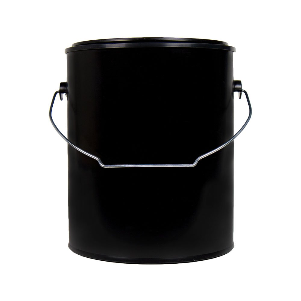 1 Gallon 7.16'' OD x 7.84'' Hgt. Black Dual-Seal Polypropylene Plastic Paint Can with Handle and Lid (Empty CAN) (4 Cans)