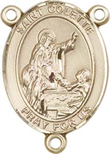 (14K Gold Filled Saint Colette Rosary Centerpiece Medal, 3/4 Inch)
