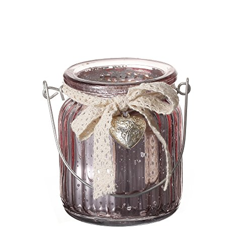 V-More Rose Gold Mercury Hanging Ribbed Glass Tealight Candle Holder Lantern Flower Vase with Metal Handle Lace Bowknot Metal Heart Ornament 3.62-inch Tall For Home Decor Wedding Party Celebration
