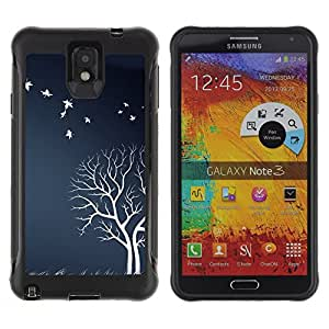 iKiki Tech / Estuche rígido - White Tree Birds Field Nature Artwork Autumn - Samsung Note 3