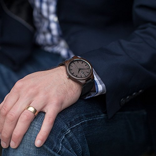 Quantum MMNT Men's Dark Wooden Watch w/Genuine Brown Leather Strap and Japanese Analog Miyota Quartz Movement by MMNT Watches (Image #1)