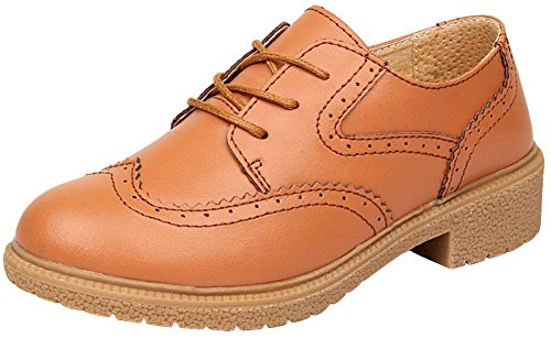 Oxford Chaussures Pour Femmes, Satuki Plate-forme Décontractée Lacer Jusquà Talon Robe Chaussure Marron