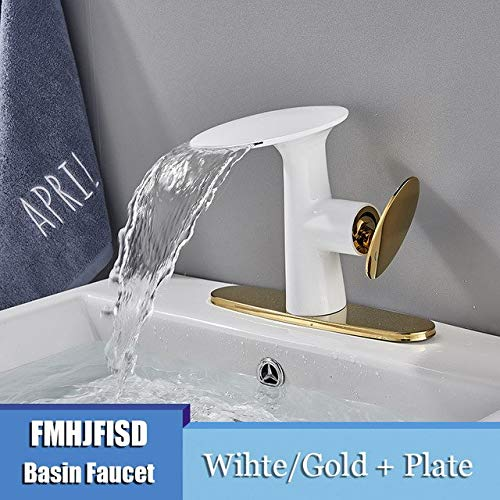 White gold W Plate U-Enjoy Chandelier Bathroom Basin Waterfall Faucet Polished Top Quality Hot golden Cold Water Mixer Washbasin Faucets Deck Taps Mounted Free Shipping [Chrome W Plate]