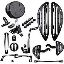 Adjustable Rider Backrest + Front Rear Floorboards w/ Mount + Brake Arm Peg Pedal + Toe Heel Shift Lever Shifter Pegs + Dash Accessory Pack + Rubber Pads + Shift Linkage For 09-13 Harley Touring