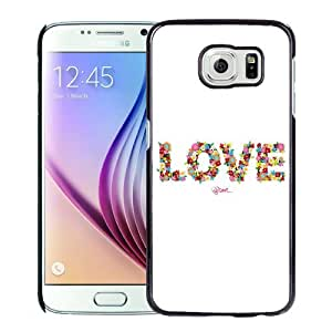 NEW Unique Custom Designed Samsung Galaxy S6 Phone Case With Love Floral Typography_Black Phone Case