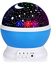 YAQOOT® Night Light for Kids, Moon Star Projector - 4 LED Bulbs 8 Light Color Changing with USB Cable, 360 Degree Rotation, Romantic Night Lighting for Baby Kids Women, Party Bedroom Decoration