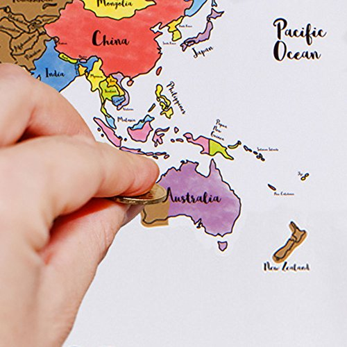 Oversized Scratch Off World Map - Large 28''x20'' Watercolor Pastel Country Travel Tracker - Track Countries Visited - Europe, Asia, South America, USA Travelers Abroad Poster - Stocking Stuffer Gift by WDS