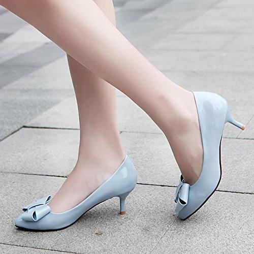 COOLCEPT Mujer Moda Sin Cordones Heel Zapatos Tacon Alto Bombas Zapatos With Bowknot Azul